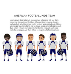 cartoon school american footbal kids team vector image vector image