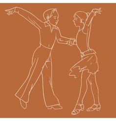 Children dancing couple vector
