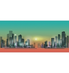 City panorama at sunset vector image