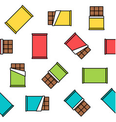 colorful chocolate seamless pattern on white vector image vector image