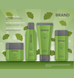 cosmetic bottles template for men with ginkgo vector image