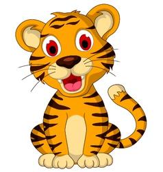Cute baby tiger posing vector