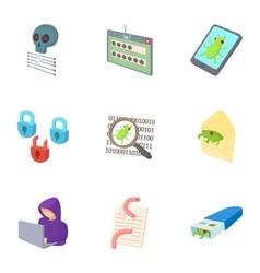Ddos attack icons set cartoon style vector