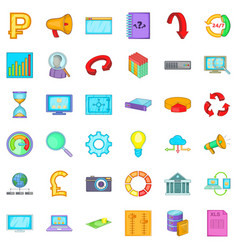 Different analytics icons set cartoon style vector