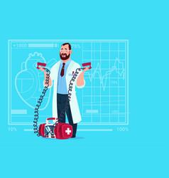 Doctor hold defibrillator medical clinics worker vector