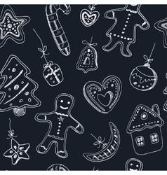 Doodle christmas cookies seamless pattern vintage vector