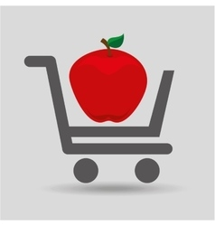 e-shopping fresh apple fruit design vector image