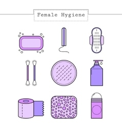Feminine hygiene flat colored objects icons vector