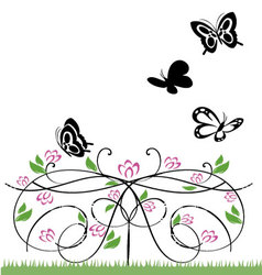 flowers and butterflies 2 vector image