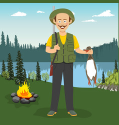 happy hunter holding duck outdoor vector image