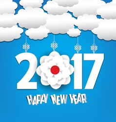 Happy new year 2017 cloud and sky background vector