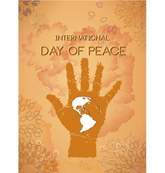 International day of peace with hand vector