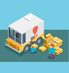 Isometric delivery service vector