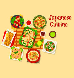 Japanese cuisine seafood dinner dishes icon vector