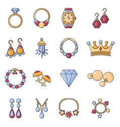 Jewelry shop icons set cartoon style vector