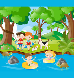 kids having fun in the river vector image