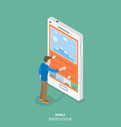 Mobile image editor flat isometric concept vector