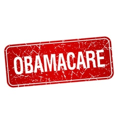Obamacare red square grunge textured isolated vector