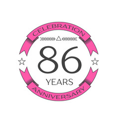 Realistic eighty six years anniversary celebration vector