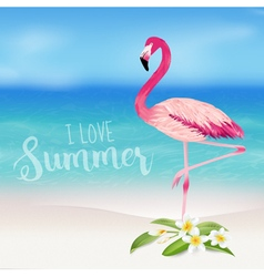 Realistic Sea Background Tropical Flamingo Bird vector image vector image