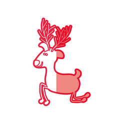Red silhouette caricature of funny reindeer of vector