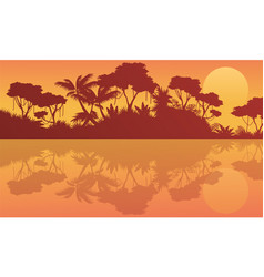 Scenery jungle with lake at sunrise vector