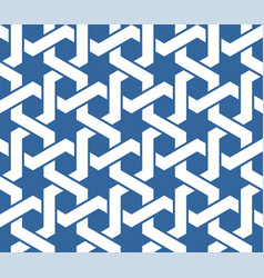 Seamless blue arabic ornament with twined lines vector