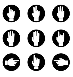 Set of black and white hands make number vector