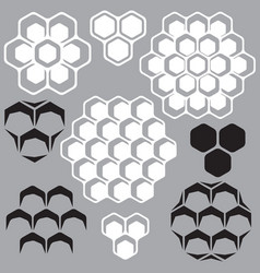 set of geometric patterns with honeycombs vector image vector image