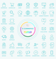 set of universal e-commerce and e-trade line icons vector image vector image