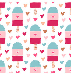 Summer seamless pattern with ice creams bright vector
