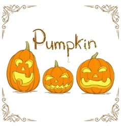 Three hand drawn pumpkin vector