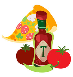 tomato ketchup with hot pepper hot sauce vector image