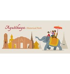 Tourist ride elephant ayutthaya thailand vector