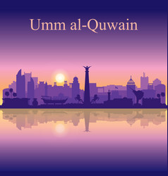 Umm al-quwain silhouette on sunset background vector