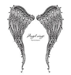 Vetor hand drawn ornate angel wings zentangle vector