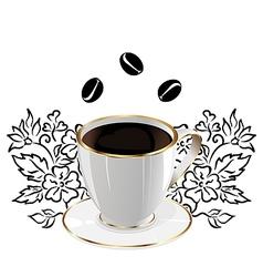 Vintage Floral Coffee Background vector image