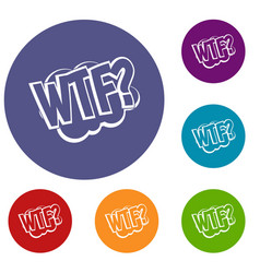 wtf comic book bubble text icons set vector image vector image