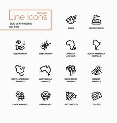 Zoo wayfinding - modern single line icons vector