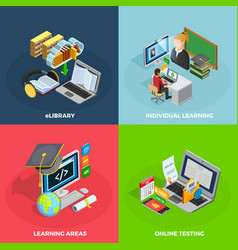 E-learning concept icons set vector