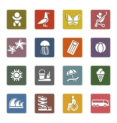 Vacation travel  recreation icons set vector