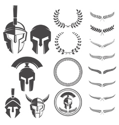 Set of the spartan warriors helmets and design vector