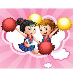 Two young and energetic cheerdancers vector