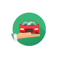 Rent a car logo idea flat style hand vector