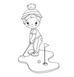 Black and white little girl playing golf vector