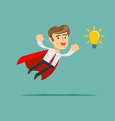 Super businessman in red cape flying to idea light vector