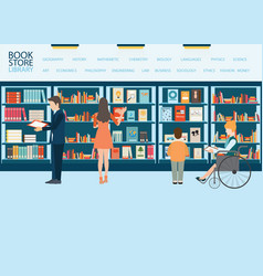 Bookstore or library with bookshelves vector