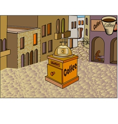 The city retro banner with a cup of coffee vector image