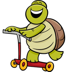 Turtle on scooter cartoon vector