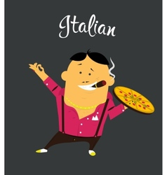 Italian man cartoon character citizen of the vector